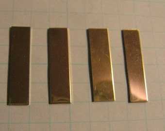 14K Gold-Filled Stamping Blanks Pendant Jewelry Making Supplies RECTANGLE for Hand Engrave Personal Tag 22 Gauge 1/4  x 1 inch Qty 4