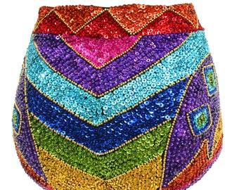 Rainbow sequin high waisted hotpants - fairylove
