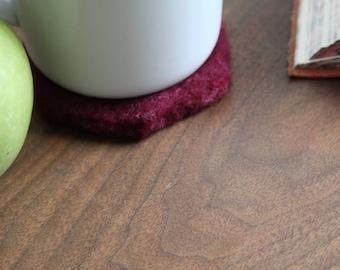 100% Wool Mulberry Hexagon Felt Coaster