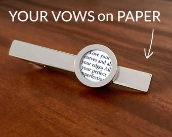 1 Year Anniversary Gift for Husband / First Anniversary Gift for Husband / Customized Tie Clip with your Wedding Vows on Paper