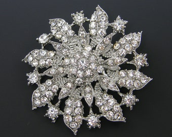 Rhinestone Flower Brooch Clear Crystal Lapel Pin Bridal Wedding Bouquet Bridesmaid Gift Favor Embellishment Ornate Bridal Accessory |LG6-6|1