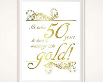 50th Anniversary Gifts for Parents - 50th Anniversary Print, Wedding Anniversary Poster, Golden Anniversary Gift Ideas,  Parents Anniversary