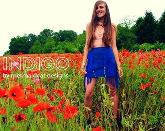 Crochet fringe mini skirt pattern - Indigo