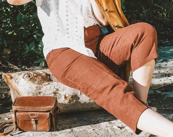 90s Burgundy Cropped Linen Trousers, Vintage Burgundy Trousers, Linen Trousers w/Pockets, Minimal Cropped Linen Pants, Women Linen Bottoms