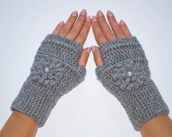 Grey fingerless gloves, fingerless mitts, flower gloves, crochet fingerless gloves, winter gloves, womens gloves, knit fingerless gloves