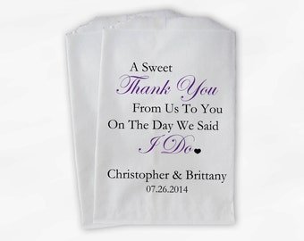 Sweet Thank You Wedding Candy Buffet Treat Bags - Personalized Favor Bags with Couple's Names and Wedding Date - Custom Paper Bags (0054-2)