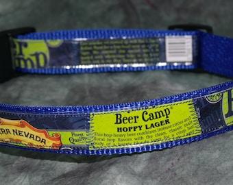 Collier de chien réglable de recyclé Sierra Nevada bière Camp Hoppy bière Lager étiquettes