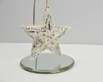 Vintage sheet music star ornament