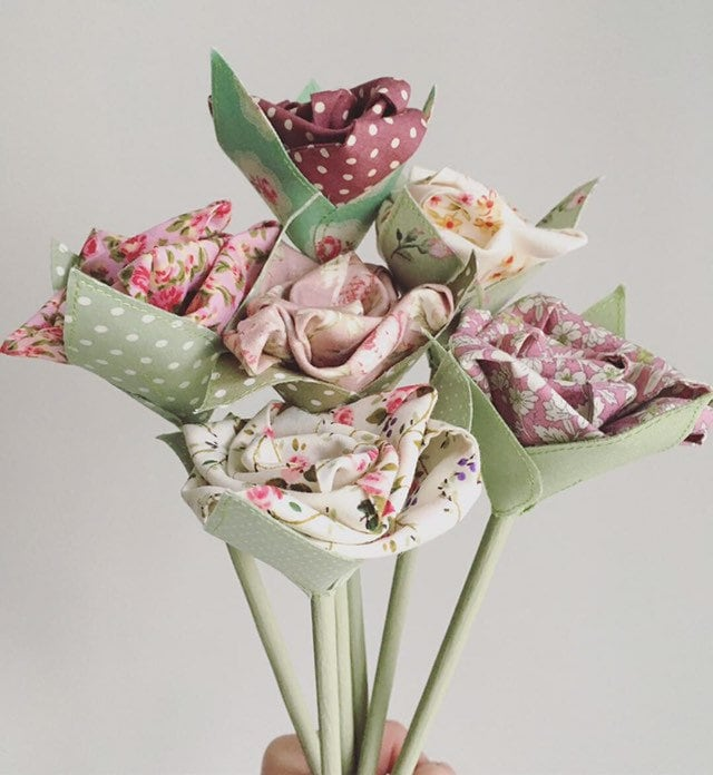Image of Faux Flowers Bunch of 6 Pink and Cream Fabric Flowers