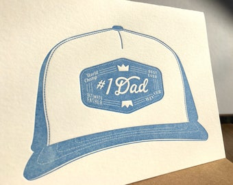 Number One Dad | Blue Letterpress Father's Day Card