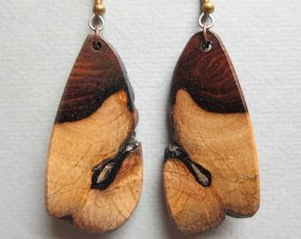 Unique, Khamphi Rosewood, Exotic Wood Earrings, Live Edge Large Long Dangle handcrafted