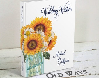 Sunflower Wedding Guest Book - Rustic Mason Jar, Blue & Yellow, Traditional Personalized Guest Book, Wedding Wishes Book, Guest Sign In