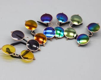6 Pcs/Lot 7CM Doll Glasses Round-shaped Round Glasses Colorful Glasses Sunglasses suitable for Blythe Doll/18 Inch American Girl Dolls
