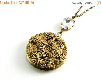 20%OFF SALE Floral Filigree Locket Pendant, Victorian Style Locket Necklace, Large Round Locket