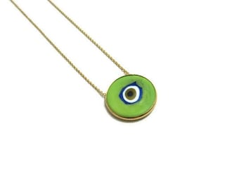 18K gold plated over silver 925  green evil eye  necklace round pendant