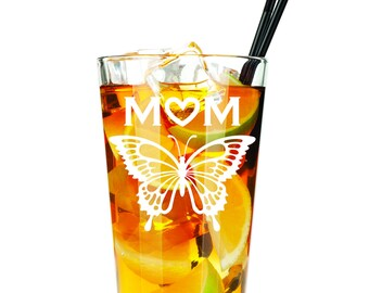 Mom with Butterfly - Etched Pint Glass