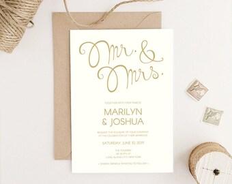 The Marilyn - DIY Wedding Invitation // Vintage Inspired Wedding Invitation Suite // Printable Wedding Invites // Editable PDF Template