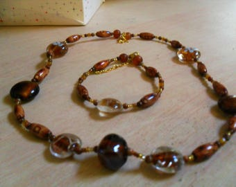set (necklace and bracelet) colorful, original (Brown)
