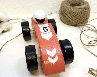 Toy Wooden Red Race Car, Handcrafted Wooden Toy Race Car, Eco Safe Baby Toys, Toy Race Car for Boy, Handmade Toys, Ecotoy,  EcoToysShop