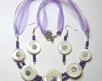 Adornment necklace and earrings with MOP - #718