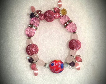 Young Adult Girl Stretch Elastic Pink Six Inch Bracelet Pink Cats Eye Glass Bracelet 6 Inch for Six to Seven Year Old Girl Pink Stretch