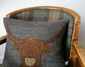 Hand Crafted Harris Tweed Highland Cow Cushion cover