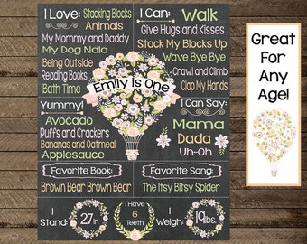 Girls first birthday chalkboard sign, floral chalkboard poster, hot air balloon theme, hot air balloon shabby chic, first birthday, second