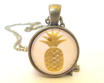 Gold Foil Pineapple Necklace, Pineapple Pendant with Chain, Art Pendant Necklace, Tropical Jewelry, Gold and White