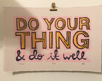 Do your thing linocut print