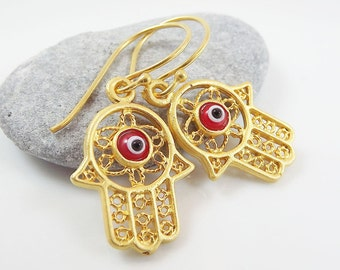 Hamsa - Hand of Fatima Dangly Earrings - Red Lucky & Protective Artisan Glass Evil Eye - Nazar