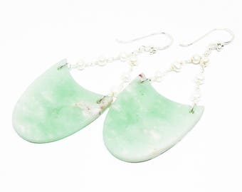 Chrysoprase and Pearl Gemstone, Sterling Silver Dangle Drop Earrings, Sea Foam Mint Green Statement Earrings, Free Shipping, E18026