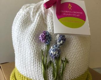 Knitted Newborn Baby Blue Hydrangea Hat, Hand-Knit Cotton, Best Baby Gift