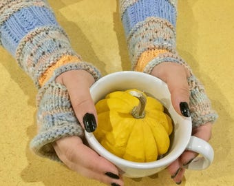NEW LISTING! Blue and Peach Fingerless Gloves