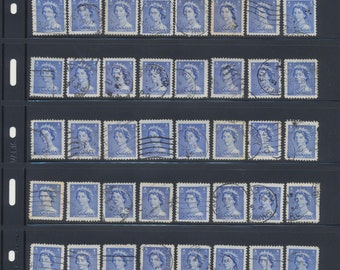 Lot of 10 used QEII 5-cent stamps