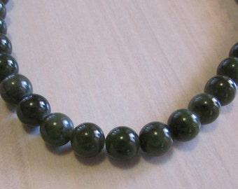 """16"""" Dark Green 8mm Round Bead Necklace"""