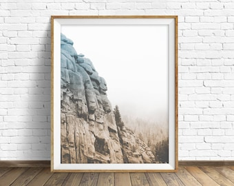 """landscape photography, digital photography, instant download printable art, black and white, large wall art, art prints - """"Monolith No. 2"""""""
