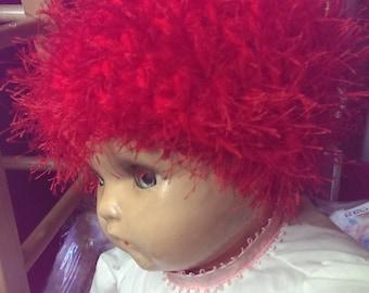 Fuzzy Red Crochet Child's Hat
