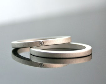 One Tiny Diamond Ring Set - Simple Wedding Rings - Sterling Silver Engagement Ring Set - Matte Finish - Minimalist Engagement Rings