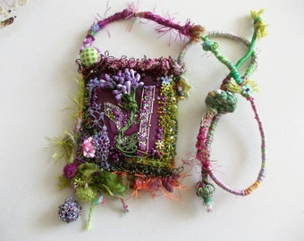 Purple dream...amulet talisman pendant necklace, manually stitched, embroidery and beaded bohemian pendant mori girl fabric necklace.