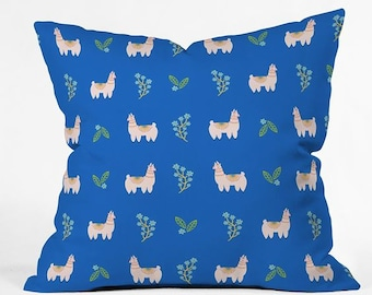 Llama Llama Leafy Blue Decorative Throw Pillow, Cute Kids Bedroom Decor, Whimsical Floral Spring Living Room Decor, Mothers Day Gift Idea