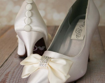 Custom Wedding Shoes -- Ivory Closed Toe Wedding Shoes with Ivory Bow on Toe and Ivory Buttons