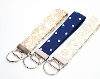 Metallic Gold Patterned Key Chain / Key Fob / Wristlet - Choose Your Fabric and lenght