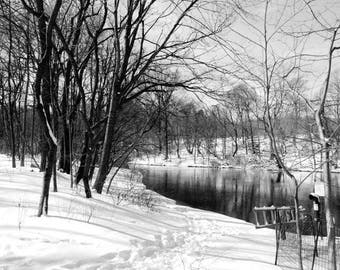 Winter Landscape Photograph - Snowy Winter - Winter Lake - Nature - Snow Covered Land - Reflections - Bare Trees - Winter Scene - Landscape