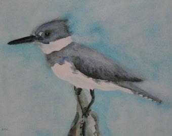 Small Art, Kingfisher Print,  Bird Art Print,  Belted Kingfisher, Bird Illustration, Bird Watercolor, Bird Painting, Bird Print