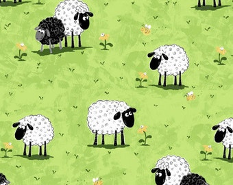 "Susybee Fabric : Lewe, the ewe - Sheep on a Green Grass Meadow Fabric  100% cotton fabric by the yard 36""x42"" (SB32)"