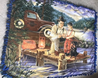 Father Son Fishing Fleece Tied Blanket