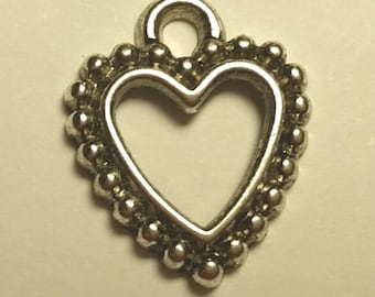 Heart Charms - 20 pcs. - Silver Heart Charm - Antique Silver Charm - Frame Heart Charms - One Sided Charms - Charms - Silver Charms