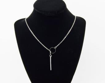 Silver pass through bar necklace