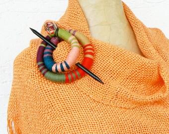 Scarfpin brooch, Long hair barrette, Flexible bun wrap, Quirky fascinator,  Textile stick clip, Round Hair slider, Statement geometric fork