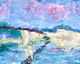 "Abstract  expressionist painting inspired by Gustave Loiseau / Contemporary art 24""x18"""